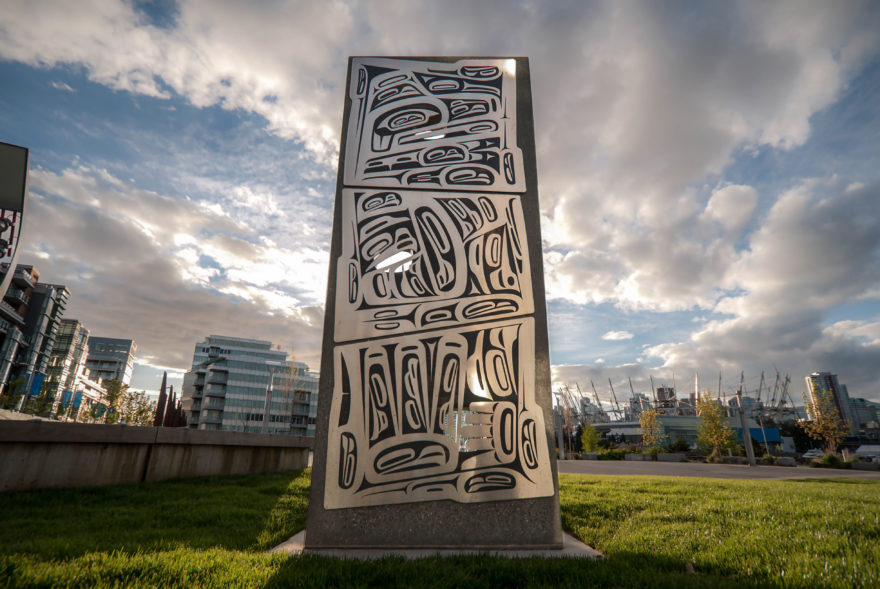 Olympic Truce Monument Sculpture Metal Stone First Nations UN grass BC Place Downtown Vancouver
